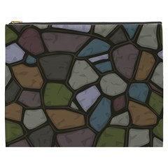 Cartoon Colored Stone Seamless Background Texture Pattern   Cosmetic Bag (xxxl)