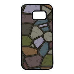 Cartoon Colored Stone Seamless Background Texture Pattern   Samsung Galaxy S7 Black Seamless Case