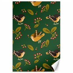 Cute Seamless Pattern Bird With Berries Leaves Canvas 20  X 30  by BangZart