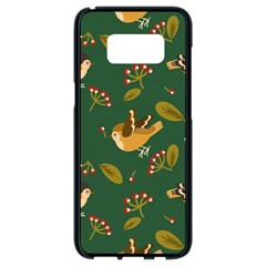 Cute Seamless Pattern Bird With Berries Leaves Samsung Galaxy S8 Black Seamless Case