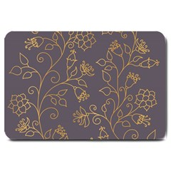 Seamless Pattern Gold Floral Ornament Dark Background Fashionable Textures Golden Luster Large Doormat  by BangZart