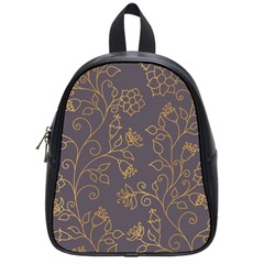 Seamless Pattern Gold Floral Ornament Dark Background Fashionable Textures Golden Luster School Bag (small) by BangZart
