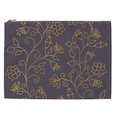 Seamless Pattern Gold Floral Ornament Dark Background Fashionable Textures Golden Luster Cosmetic Bag (xxl)
