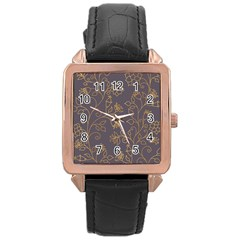 Seamless Pattern Gold Floral Ornament Dark Background Fashionable Textures Golden Luster Rose Gold Leather Watch  by BangZart