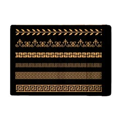 Set Antique Greek Borders Seamless Ornaments Golden Color Black Background Flat Style Greece Concept Apple Ipad Mini Flip Case by BangZart