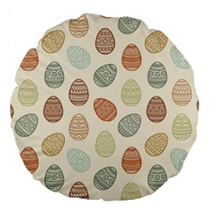 Seamless Pattern Colorful Easter Egg Flat Icons Painted Traditional Style Large 18  Premium Round Cushions by BangZart