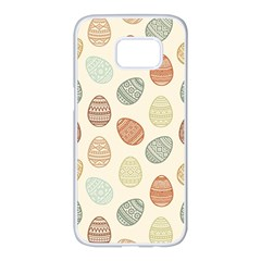 Seamless Pattern Colorful Easter Egg Flat Icons Painted Traditional Style Samsung Galaxy S7 Edge White Seamless Case