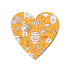 Vector Honey Element Doodle Seamless Pattern With Beehive Beeke Heart Magnet by BangZart