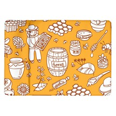 Vector Honey Element Doodle Seamless Pattern With Beehive Beeke Samsung Galaxy Tab 10 1  P7500 Flip Case by BangZart
