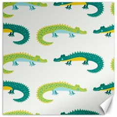 Cute Cartoon Alligator Kids Seamless Pattern With Green Nahd Drawn Crocodiles Canvas 12  X 12  by BangZart