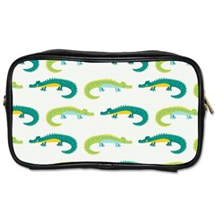 Cute Cartoon Alligator Kids Seamless Pattern With Green Nahd Drawn Crocodiles Toiletries Bag (one Side) by BangZart