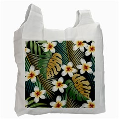 Seamless Pattern With Tropical Flowers Leaves Exotic Background Recycle Bag (two Side)