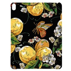 Embroidery Blossoming Lemons Butterfly Seamless Pattern Apple Ipad Pro 12 9   Black Uv Print Case by BangZart