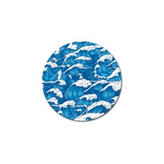 Storm Waves Seamless Pattern Raging Ocean Water Sea Wave Vintage Japanese Storms Print Illustration Golf Ball Marker (10 Pack) by BangZart