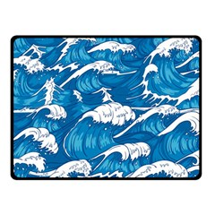 Storm Waves Seamless Pattern Raging Ocean Water Sea Wave Vintage Japanese Storms Print Illustration Fleece Blanket (small)