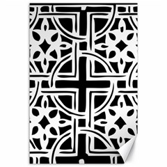 Black And White Geometric Geometry Pattern Canvas 24  X 36  by Bejoart
