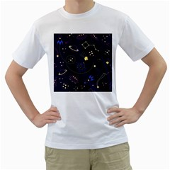 Cartoon Space Seamless Pattern Vectors Men s T-shirt (white) (two Sided) by Bejoart