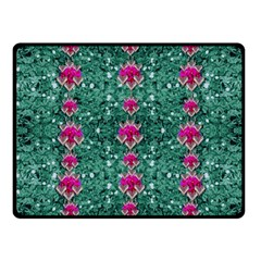 Flowers Love And Silver Metal Hearts Is Wonderful As Sunsets Fleece Blanket (small)