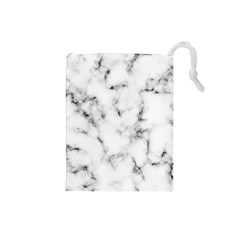 White Faux Marble Texture  Drawstring Pouch (small) by Dushan