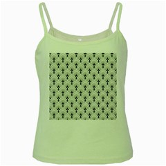 Black And White Art-deco Pattern Green Spaghetti Tank by Dushan
