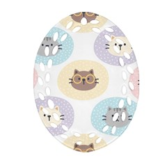 Cute Cat Seamless Pattern Background Oval Filigree Ornament (two Sides)