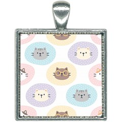 Cute Cat Seamless Pattern Background Square Necklace