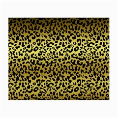 Gold And Black, Metallic Leopard Spots Pattern, Wild Cats Fur Small Glasses Cloth (2 Sides) by Casemiro
