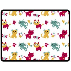 Pattern With Cute Cats Double Sided Fleece Blanket (large)