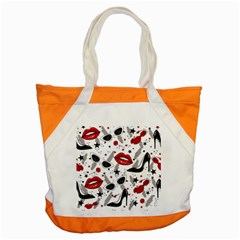 Red Lips Black Heels Pattern Accent Tote Bag by Bejoart