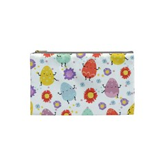 Easter Seamless Pattern With Cute Eggs Flowers Cosmetic Bag (small)