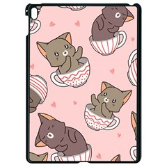 Seamless Pattern Adorable Cat Inside Cup Apple Ipad Pro 9 7   Black Seamless Case