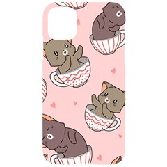 Seamless Pattern Adorable Cat Inside Cup Iphone 11 Black Uv Print Case