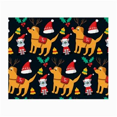 Funny Christmas Pattern Background Small Glasses Cloth by Bejoart