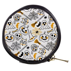 Funny Hand Drawn Halloween Pattern Mini Makeup Bag by Bejoart