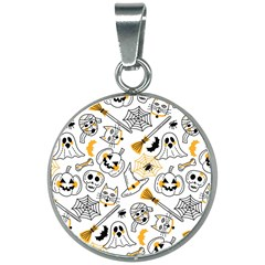 Funny Hand Drawn Halloween Pattern 20mm Round Necklace