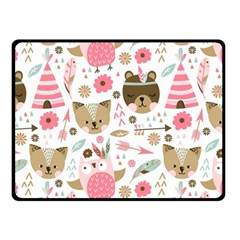 Pink Animals Pattern Fleece Blanket (small)