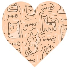 Cat Background Wooden Puzzle Heart