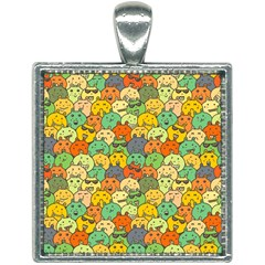 Seamless Pattern With Doodle Bunny Square Necklace