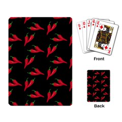 Red, Hot Jalapeno Peppers, Chilli Pepper Pattern At Black, Spicy Playing Cards Single Design (rectangle) by Casemiro