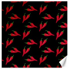 Red, Hot Jalapeno Peppers, Chilli Pepper Pattern At Black, Spicy Canvas 12  X 12  by Casemiro