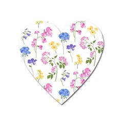 Botanical Flowers Heart Magnet by Dushan