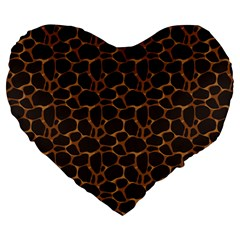 Animal Skin - Panther Or Giraffe - Africa And Savanna Large 19  Premium Heart Shape Cushions by DinzDas