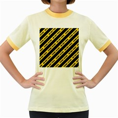 Warning Colors Yellow And Black - Police No Entrance 2 Women s Fitted Ringer T-shirt by DinzDas