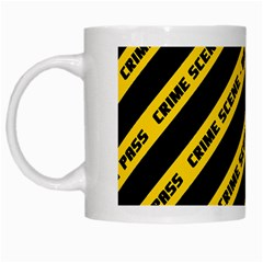 Warning Colors Yellow And Black - Police No Entrance 2 White Mugs by DinzDas