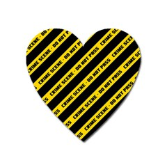 Warning Colors Yellow And Black - Police No Entrance 2 Heart Magnet by DinzDas