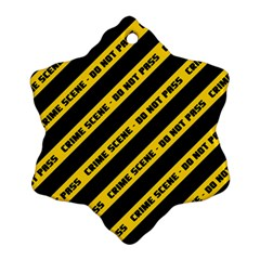 Warning Colors Yellow And Black - Police No Entrance 2 Snowflake Ornament (two Sides) by DinzDas