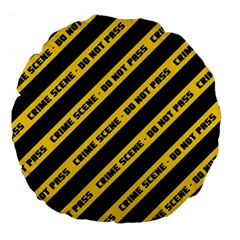Warning Colors Yellow And Black - Police No Entrance 2 Large 18  Premium Round Cushions