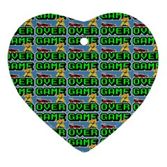 Game Over Karate And Gaming - Pixel Martial Arts Heart Ornament (two Sides) by DinzDas