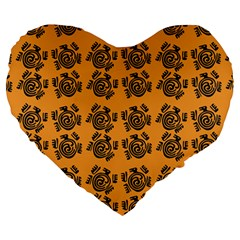 Inka Cultur Animal - Animals And Occult Religion Large 19  Premium Heart Shape Cushions by DinzDas
