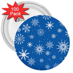 Winter Time And Snow Chaos 3  Buttons (100 Pack)  by DinzDas